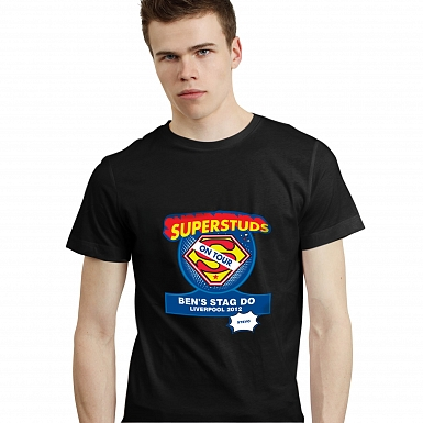 Personalised Superstuds Stag Do T-Shirt - Black - Extra Large